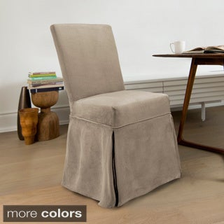 CoverWorks Sienna Suede Relaxed Fit Long Dining Chair Slipcover (Set of 4)