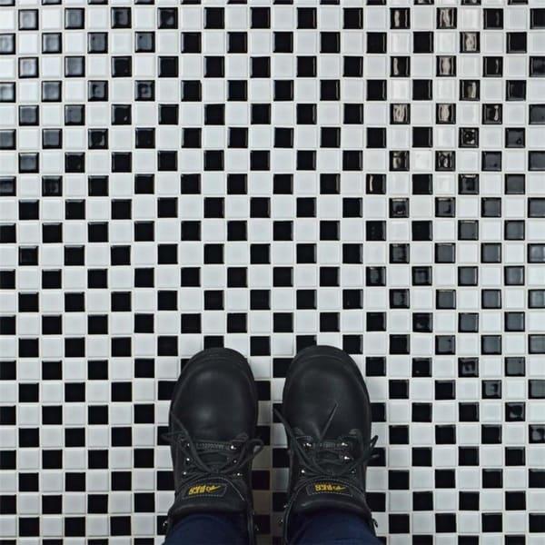 Somertile 13x13 inch tartan glossy porcelain mosaic floor for 13 inch ceramic floor tile