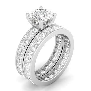 Sterling Silver Cubic Zirconia Double Eternity Wedding Ring Set