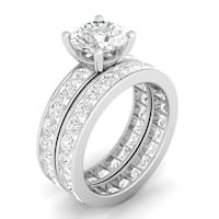 Sterling Silver Cubic Zirconia Double Eternity Wedding Ring Set - White