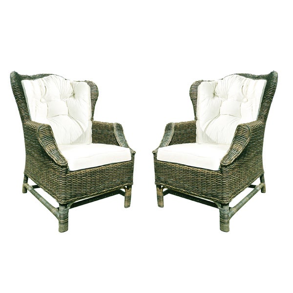 Handmade D Art Rattan Wicker WIng Back Chair (Set Of 2) (Indonesia