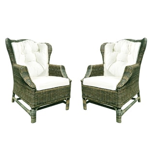 Handmade D-Art Rattan Wicker WIng Back Chair (Set of 2) (Indonesia)
