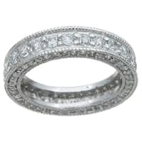 Sterling Silver TCW 1 1/2 carat Cubic Zirconia Antique Style Eternity Ring