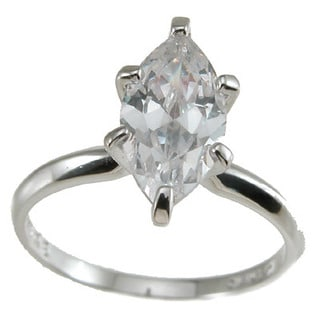Sterling Silver Cubic Zirconia Marquise Solitaire Engagement Ring