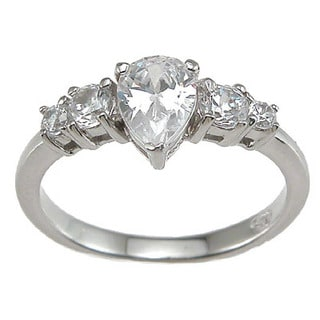 Rhodium Finish 1 TCW Sterling Silver Pear-shape Cubic Zirconia Engagement Ring