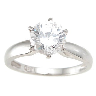 Sterling Silver Cubic Zirconia Brilliant Solitaire Wedding Ring