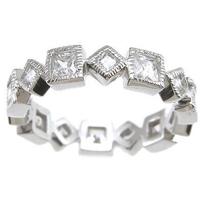 Rhodium Finish Sterling Silver Cubic Zirconia Princess Eternity Wedding Band