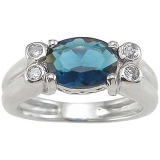 Rhodium Finish 1 TCW Sterling Silver Cubic Zirconia Saphire Bezel Ring