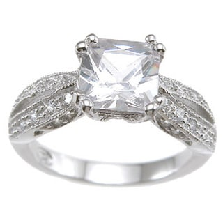 Rhodium Finish Sterling Silver Cubic Zirconia Princess Antique-style Wedding Ring