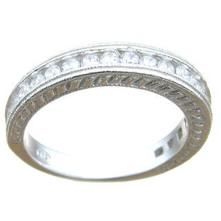 Sterling Silver Cubic Zirconia Antique-style Wedding Band