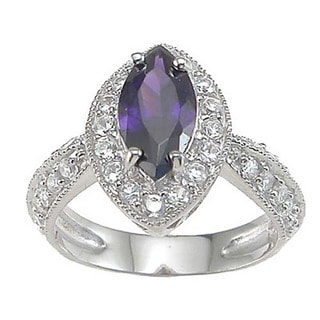 Rhodium Finish Sterling Silver Purple Cubic Zirconia Pave Engagement-style Ring