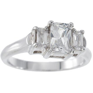 Plutus Sterling Silver Platinum Finish Emerald-cut 3-stone Cubic Zirconia Engagement Ring