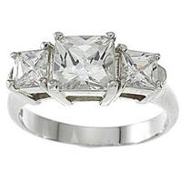 Sterling Silver Platinum Finish Princess 3-stone Cubic Zirconia Engagement Ring