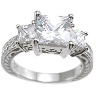 Rhodium Finish Sterling Silver Cubic Zirconia Princess Antique-style Wedding Ring