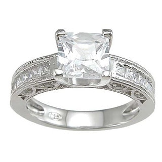 Rhodium Finish Sterling Silver Cubic Zirconia Princess Channel Wedding Ring