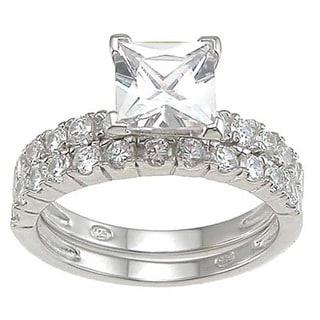 Rhodium Finish Sterling Silver 1 1/2 TCW Cubic Zirconia Princess Engagement Ring Set