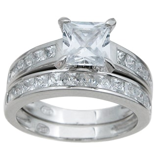 Rhodium Finish Sterling Silver Cubic Zirconia Princess Solitaire Engagement Ring