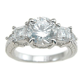 Rhodium Finish Sterling Silver Cubic Zirconia Princess Antique Style Engagement Ring