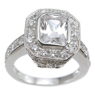 Rhodium Finish Sterling Silver Cubic Zirconia Emerald-cut Antique-style Wedding Ring