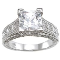 Rhodium Finish Sterling Silver Cubic Zirconia Princess Vintage-style Wedding Ring