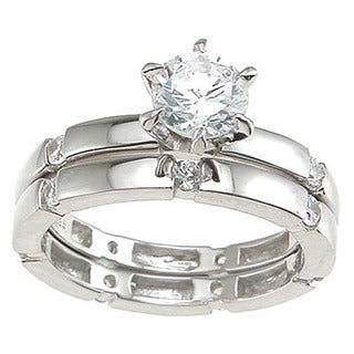 Rhodium Finish Sterling Silver Cubic Zirconia Solitaire Engagement Ring Set