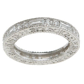 Rhodium Finish Sterling Silver Round And Baguette Cubic Zirconia Antique Style Engagement Band