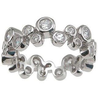 Rhodium Finish Sterling Silver Cubic Zirconia Bubble Engagement Band