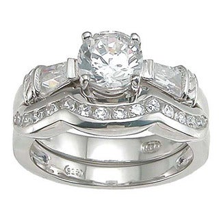 Rhodium Finish Sterling Silver Cubic Zirconia Engagement Ring Set
