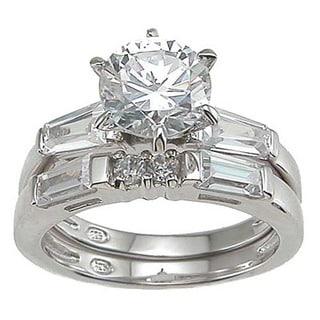 Rhodium Finish Sterling Silver Cubic Zirconia Fashion Engagement Ring Set
