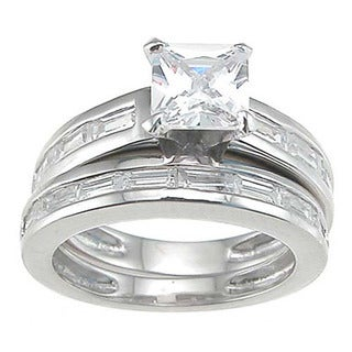 Rhodium Finish Sterling Silver Cubic Zirconia Princess Engagement Ring Set
