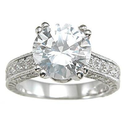 Rhodium Finish Sterling Silver Cubic Zirconia Antiquestyle Wedding