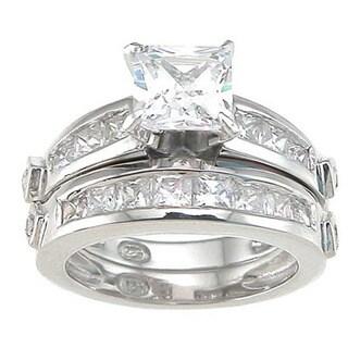 Rhodium Finish Sterling Silver Cubic Zirconia Princess Wedding Ring Set Ring