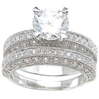 Rhodium Finish Sterling Silver Cubic Zirconia Antique-style Wedding Ring Set Ring
