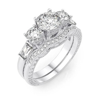 Plutus Rhodium Finish Sterling Silver Cubic Zirconia Antique-style Engagement Ring Set