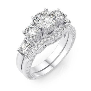 Plutus Rhodium Finish Sterling Silver Cubic Zirconia Antique-style Engagement Ring Set - White