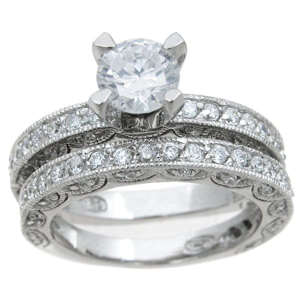 Shop Rhodium Finish Sterling Silver Cubic Zirconia Antique Style