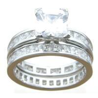 Sterling Silver Princess Cubic Zirconia Eternity Wedding Ring Set