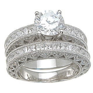 Rhodium Finish Sterling Silver Cubic Zirconia Princess Wedding Ring Set Ring