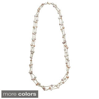 Sterling Silver Biwa Pearl 3-row 39-inch Necklace