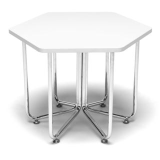 Hex Series White Table with Chrome Frame