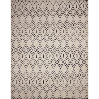Indo Moroccan Younes Ivory/ Brown Area Rug (9' x 12'1)