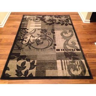 Traditional High Quality Area Rug Grey Oriental Floral Rug (6'6 x 9'2)