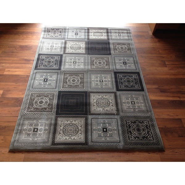 Contemporary Area Rug High Quality Grey Geometric Hallway