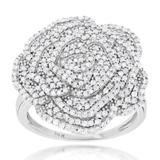 Luxurman 14k Gold 7/8ct TDW Pave Diamond Flower Ring (H-I, SI2-I1)