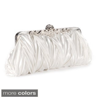 Satin Pleated Crystal Kiss Lock Evening Clutch Handbag