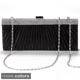 Satin Steel Crystal Diamante Evening Clutch Bag