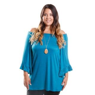 Hadari Women's Contemporary Plus Size Off-Shoulder Ruffle Trim