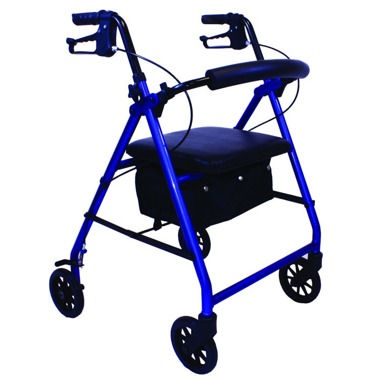 E-series Rollator with Padded Seat and 6-inch Wheels (Blue)