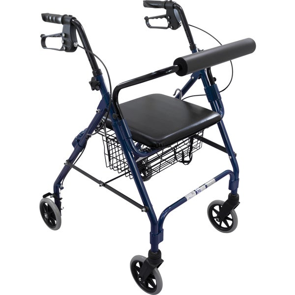 Roscoe Easy-Folding Aluminum Rollator with Padded Seat