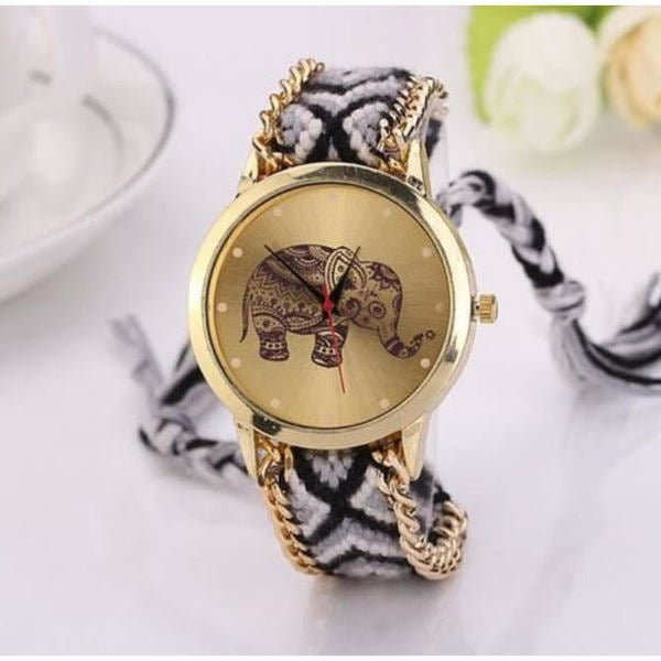 5e051a153 Shop Olivia Pratt Women's Tribal Elephant Braided Band Watch - On ...